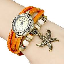 [$5.24] Women's Star Fish Pendant Leather Band Quartz Analog ...