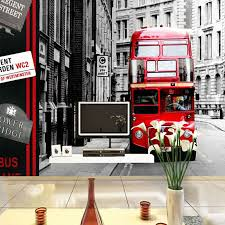 modern red bus wall papers roll moisture eco friendly papel de parede dining room office china eco friendly modern office