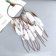 Boho Indian Feather Headband <b>Dream Catcher Hair</b> Band Beads ...