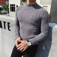 Simple Autumn Winter Pullovers <b>Men</b> Striped Sweater Casual ...