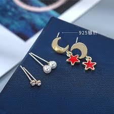 <b>Fashion Simple</b> Pearl <b>Stud Earrings</b> Female Zircon Star Moon ...