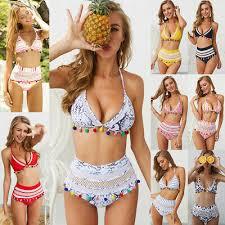 <b>Sexy Halter</b> Bikini Set <b>Retro Mesh</b> Beachwear Women High Waist ...
