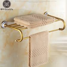 Antique <b>Brass</b> Wall Mount Hotel <b>Bathroom Towel Rack</b> Rail <b>Brass</b> ...