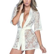 Rambling Sexy White Women Lace <b>Lingerie</b> Bath Robe <b>Nightwear</b> ...