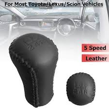 5 Speed Leather <b>Stitch Gear</b> Shifter Shift Knob Head <b>Black</b> For ...