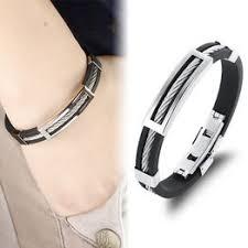 Fashion Men Bracelet Stainless Steel Wire Silicone Bracelets ... - Vova