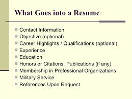 job searching resume and cover letter      what goes into a resume