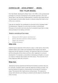 curriculum development model tyler model