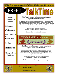 winter spring employment and life skills classes are open for talktime flyer final