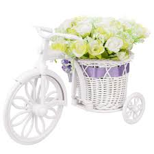 Takefuns Small Artificial Flowers Garden Nostalgic <b>Bicycle</b> Artificial ...