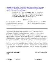 car accident settlement letter template sample settlement letter