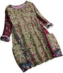 Womens Vintage <b>Linen Floral</b> Print Blouse, Casual Loose Long ...