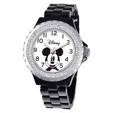Womens Disney Mickey <b>Mouse Enamel</b> Sparkle Watch Black