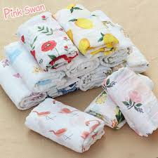 PINK SWAN 100%<b>Cotton Flamingo</b> Rose fruits Print Muslin <b>Baby</b> ...