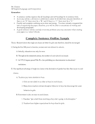 example of a sentence outline for a research paper nonfiction cause effect essay topics list