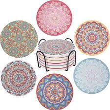 Coasters for Drinks, <b>Mandala Style</b> Patterns on Absorbent Ceramic ...