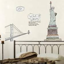 liberty bedroom wall mural: statue of liberty three generations of european decorative removable wallpaper wallpaper bedroom living room tv wall stickers ay statue liberty wall for