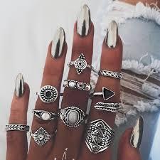 New <b>Fashion</b> Retro Exaggeration <b>Triangle Feather</b> Finger Ring <b>Set</b> ...