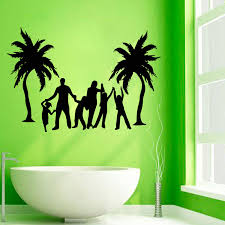 palm tree wall stickers: palm trees wall decals love family beach playing wall stickers home decor removable vinyl mural