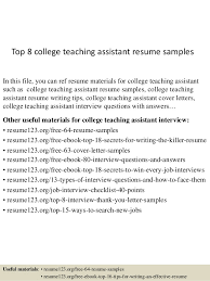 Top   college teaching assistant resume samples SlideShare Top   college teaching assistant resume samples In this file  you can ref resume materials