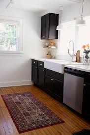 Kitchen Rugs For Wood Floors Magnificent Rectangle Black Wool Best Kitchen Rug Oak Hardwood