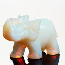 2019 <b>Opalite</b> Tiger Eye Elephant <b>Natural Stone Carved</b> 1.5 Inch ...