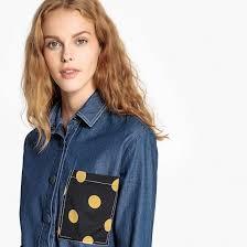 <b>Рубашка короткая из</b> денима с карманом с рисунком в горошек ...