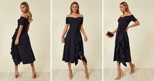 Exclusive Bardot <b>Off Shoulder</b> Frill Midi Dress <b>Navy</b> | Feverfish ...