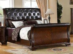 south yorkshire eastern king tufted sleigh bed furniture of america brown leather bedroom furniture