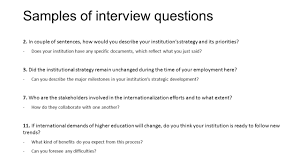 the impact of internationalization on institutional strategy a samples of interview questions 2