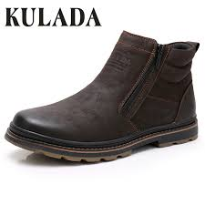 <b>KULADA High Quality Winter</b> Boots Men Cow Suede Ankle Boots ...
