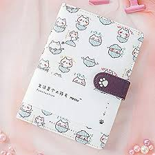Student <b>Cute Cartoon Cat</b> Pattern Notebook Leather Cover Journal ...