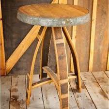 repurposed wine barrel made into a side table arched napa valley wine barrel table