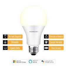 Merkury Innovations A19 Smart <b>Light Bulb</b>, 60W <b>Dimmable</b> White ...