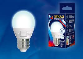 Светодиодная <b>лампа Uniel LED</b>-<b>G45</b> 7W/NW/E27/FR PLP01WH ...