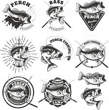 <b>Bass</b> fishing labels. Perch fish. Emblems templates for <b>fishing club</b> ...