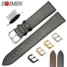 <b>ZLIMSN</b> 100% <b>Genuine</b> Solid <b>Leather</b> Black Brown Watchbands ...