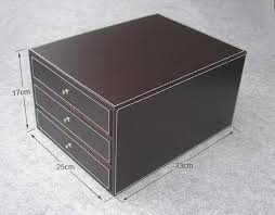 2019 Wholesale <b>3 Layer 3 Drawer</b> Wood <b>Leather</b> Desk Set <b>Filing</b> ...