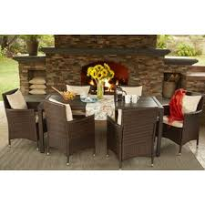 brown wicker outdoor furniture dresses: portfolio aldrich brown indoor outdoor  piece rectangle dining set with beige cushions