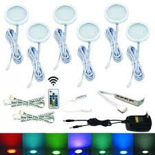 aiboo rgb color changing led under cabinet lights kit 6 packs of aluminum slim puck lamps cabinet lighting 6