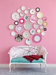 i like this idea of mis matched plates as wall decor but think would charming pernk dining room