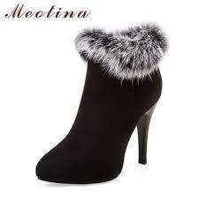 <b>Meotina</b> Women <b>Ankle Boots Winter</b> High Heels Fur Bow Thick ...