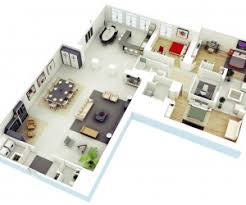 Three Bedroom House Apartment Floor PlansAn L shaped house allows for plenty of privacy in the bedroom win and tons