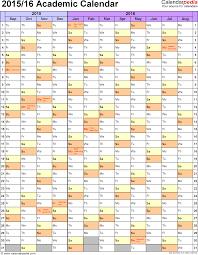 academic calendars as printable excel templates template 6 academic calendar 2015 16 for excel portrait 1 page