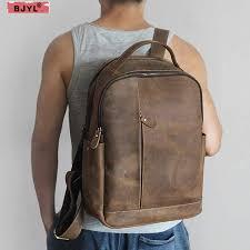 <b>Super large</b> capacity Crazy Horse leather portable Men <b>backpack</b> ...