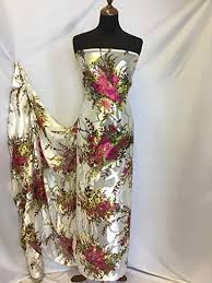 Iana <b>Fabrics</b> NEW Designer 100% Silk Satin <b>Chiffon Floral</b> Burnout ...