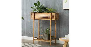 LWBUKK <b>Solid Wood</b> Flower Stand <b>Balcony</b> Floor Flower Trough ...