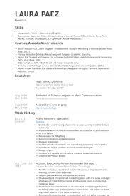 public relations specialist resume samples pr resume template