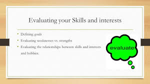 skills and interests finding the fit between the two tawfik h evaluating your skills and interests defining goals evaluating weaknesses vs