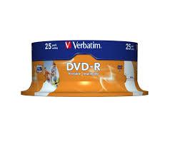 Buy <b>Verbatim DVD-R 4.7GB 16x</b> Inkjet SP (25) (43538)